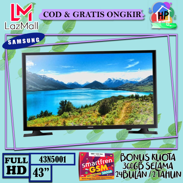 [ENGGAK PUAS ? KEMBALIKAN !!] Samsung LED TV 43 FullHD TV 43N5001 FullHD Picture Quality - USB Connection - Clean View + Bonus Smartfren 360GB [COD / GRATIS ONGKIR / GARANSI RESMI]