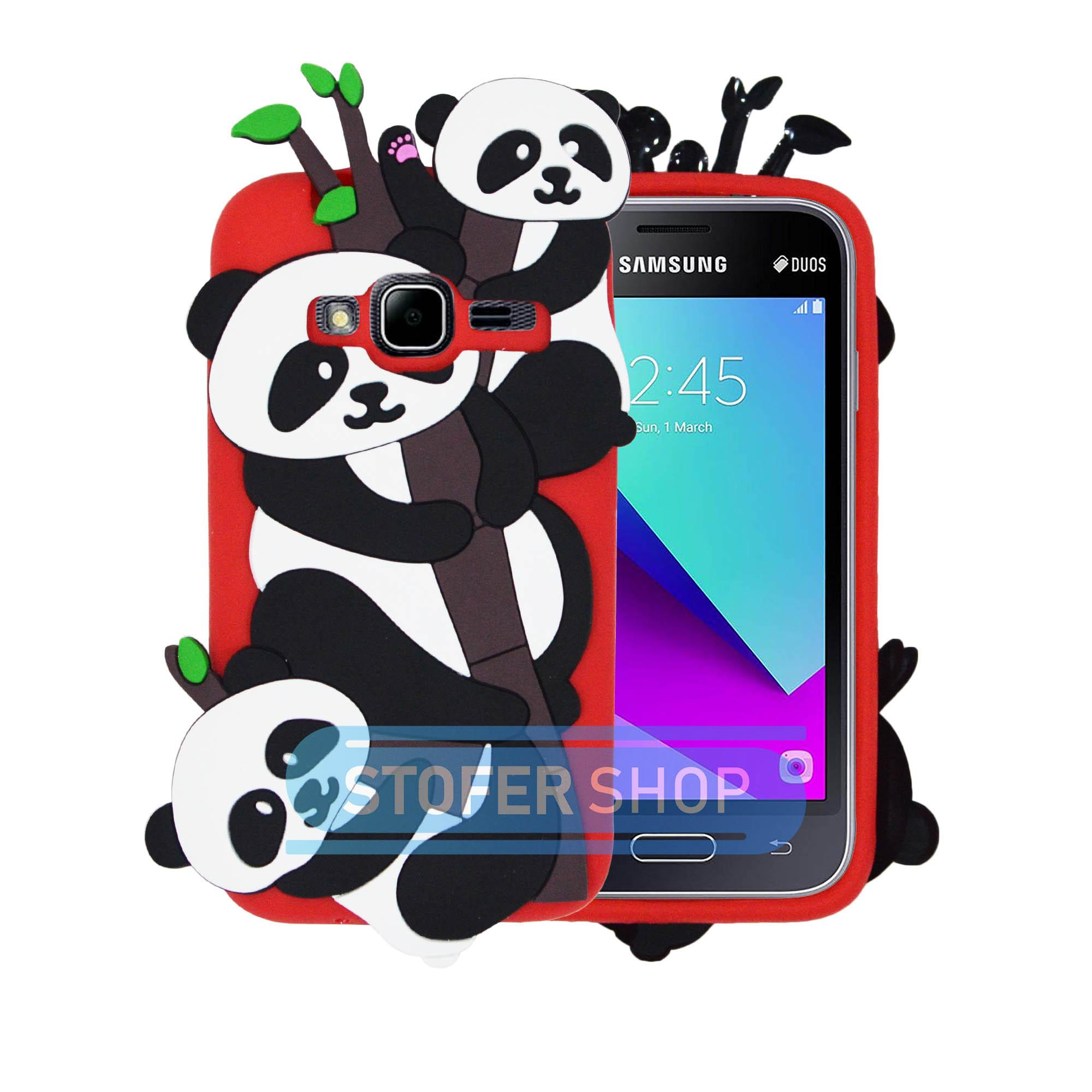 Case Boneka PANDA Samsung Galaxy J1 Mini Casing Karakter / Softcase/ Silicon / 3D / 4D Lucu Character Cartoon