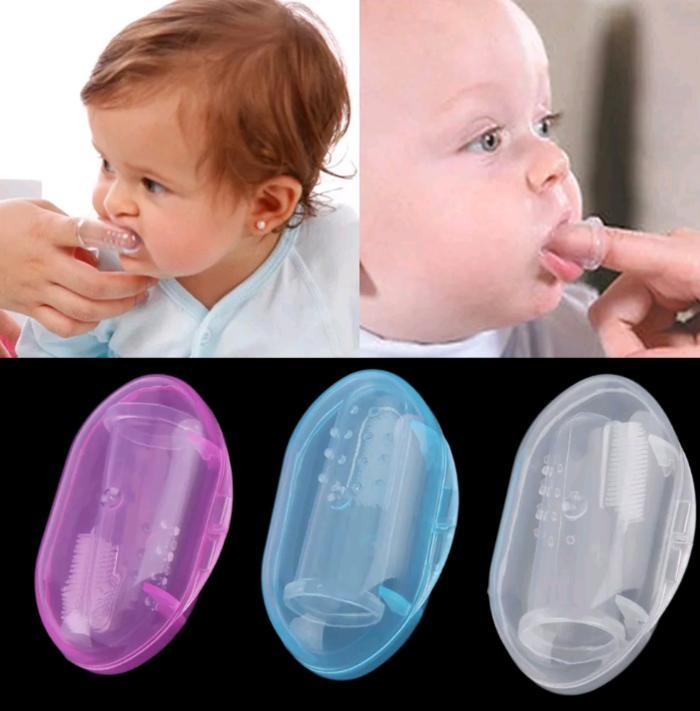 Harazaki-Sikat Gigi Lidah Bayi Silikon Baby Finger Brush Silicone (sg-Cover) By Harazaki.
