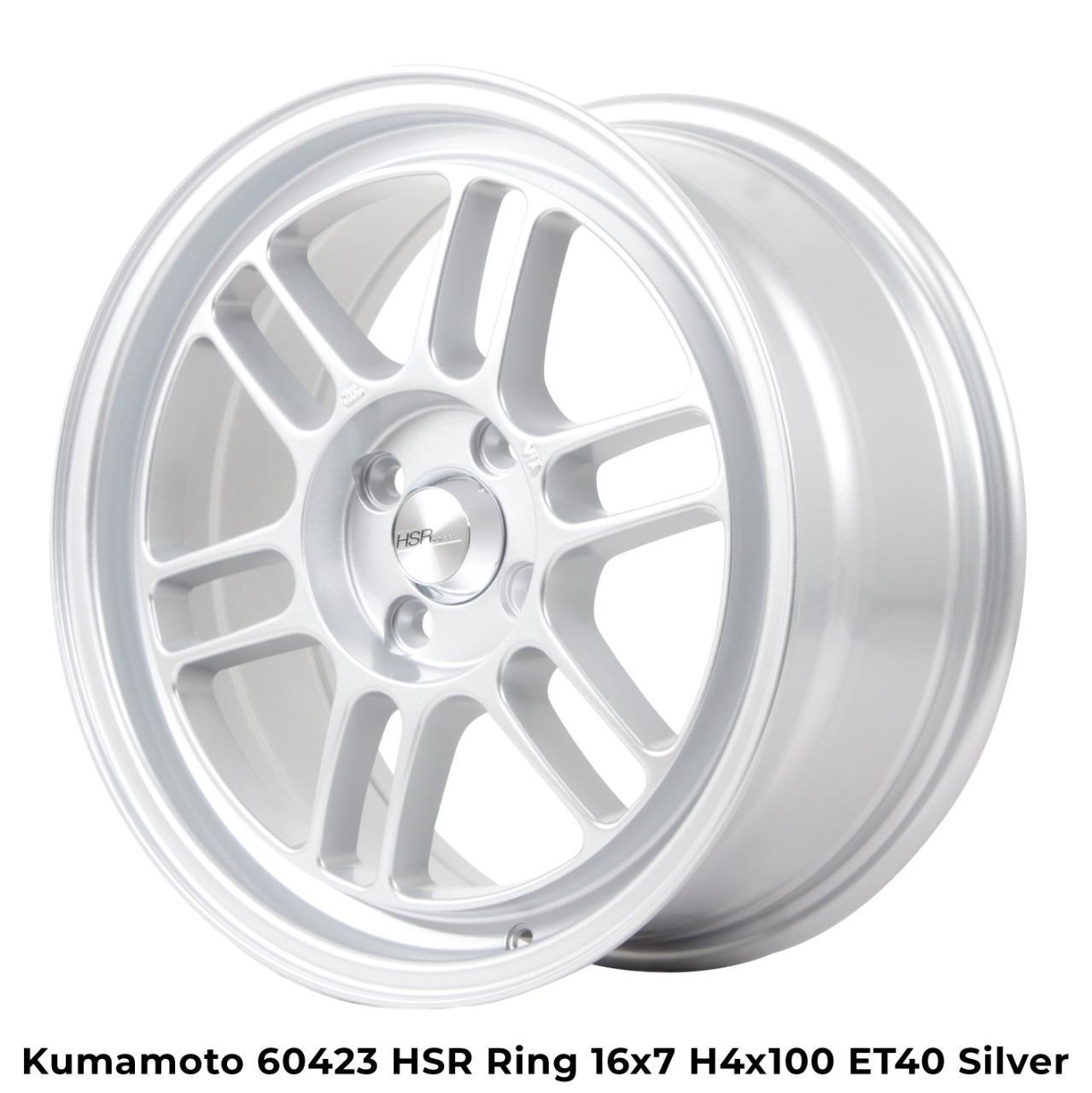 Velg Mobil Racing Kumamoto HSR Ring 16 Silver Agya Brio Agya Sigra Jazz Vios City Mobilio Single Pcd