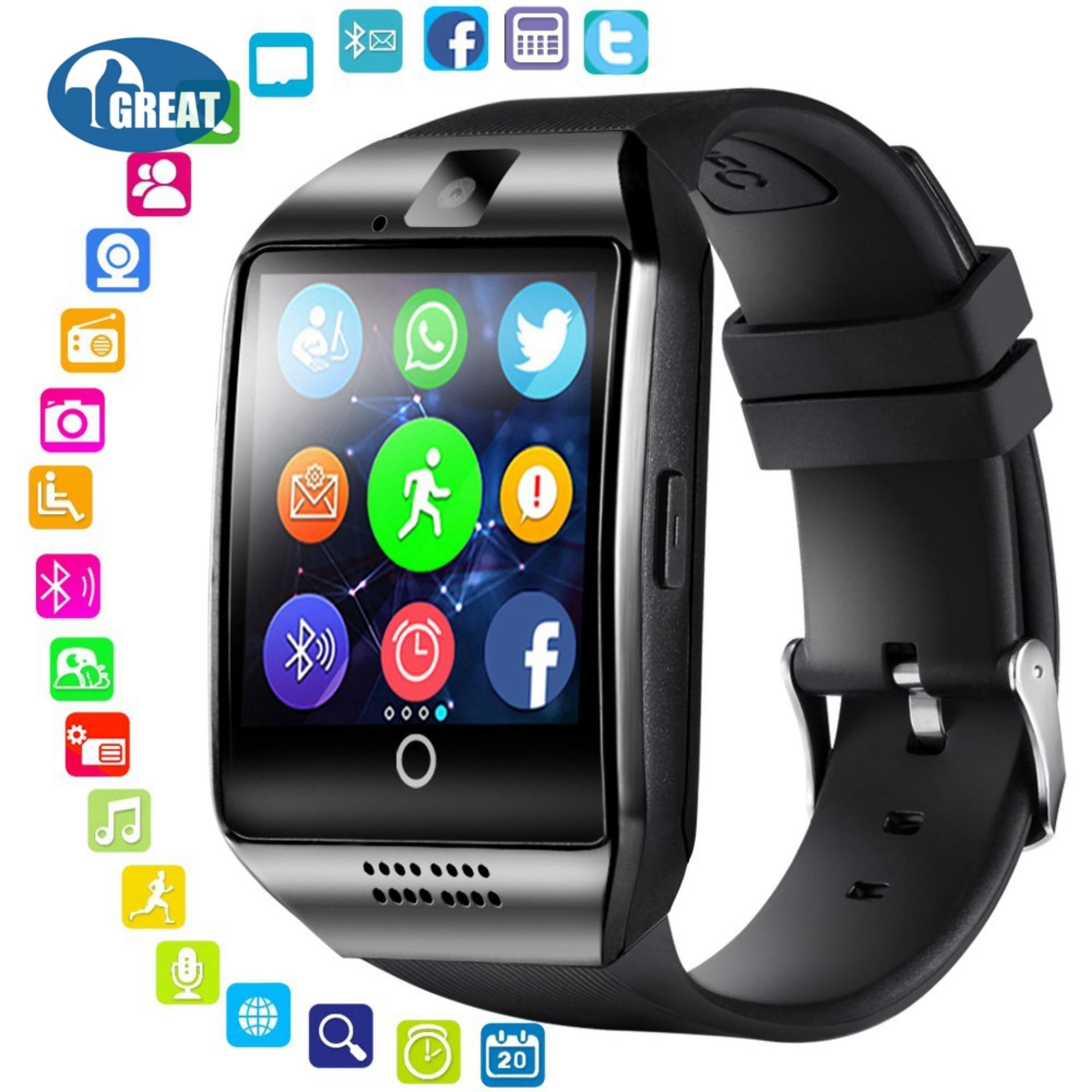 GoodGreat Smart Watch With Camera, Q18 Bluetooth Smartwatch With Sim Card Slot Fitness Activity Tracker
