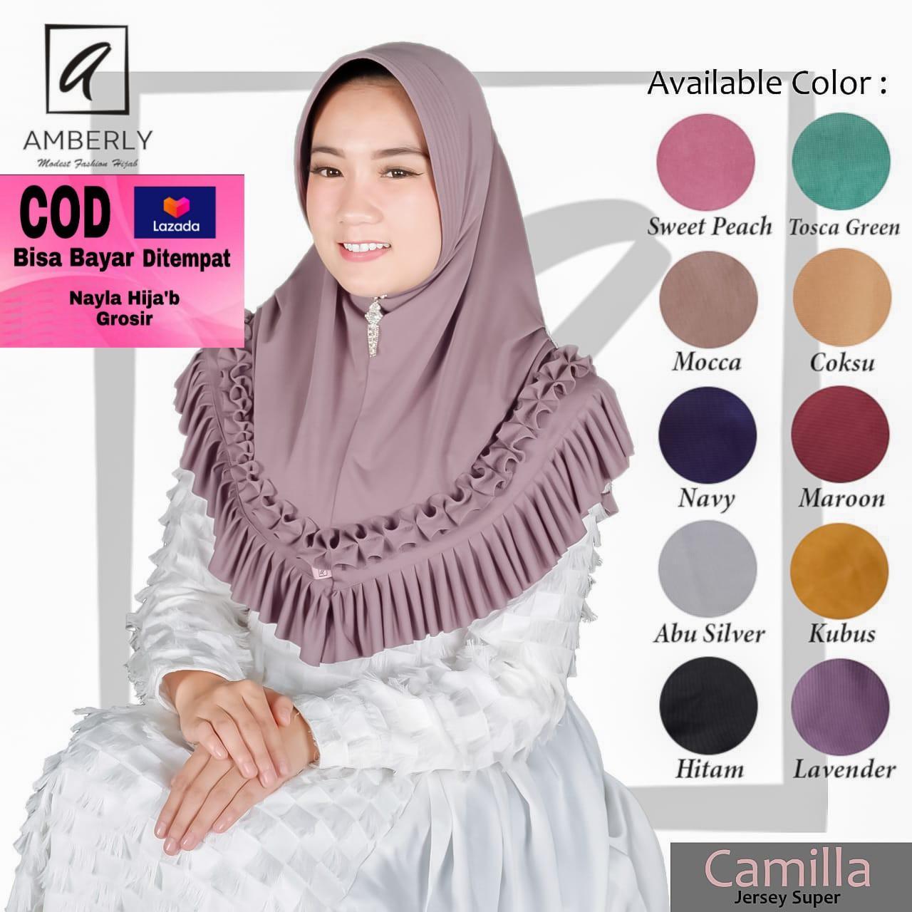 Hijab/ Jilbab Instan Jersey Jersey Model Bergo terbaru termurah dan terlaris/ Kerudung Wanita Terbaru/ Amberly Camilla/ Nayla Hija'b