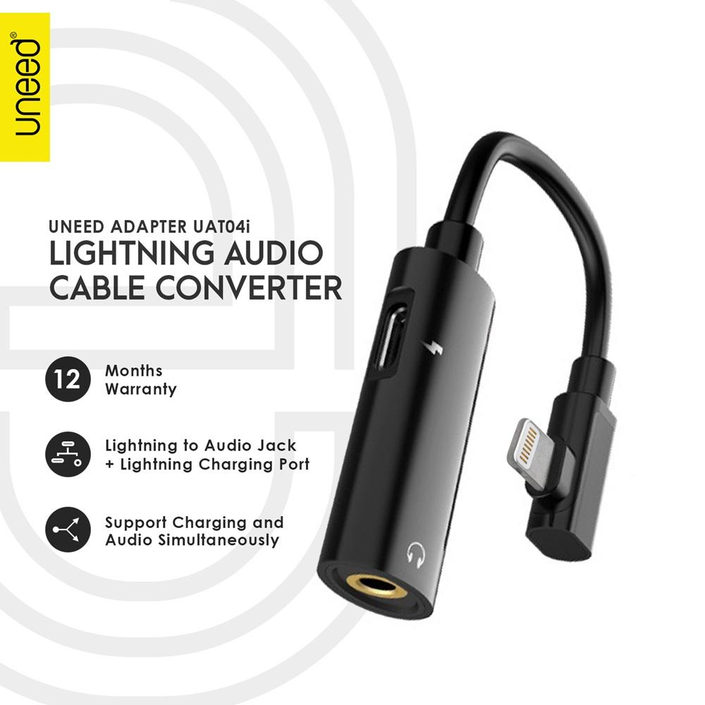 UNEED Audio Cable Converter Lightning to 3.5mm Audio Jack + Female Adapter - UAT04i