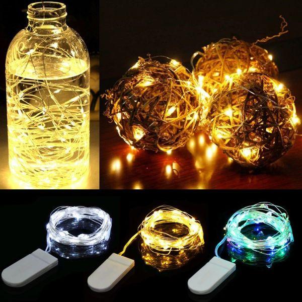 A5TG 10/20/30 LED Đồ dùng dự tiệc Đèn chiếu sáng chai Đèn Giáng sinh Trang trí đám cưới Đèn dây cổ tích Dây đồng Pin LED Gạo siêu nhỏ