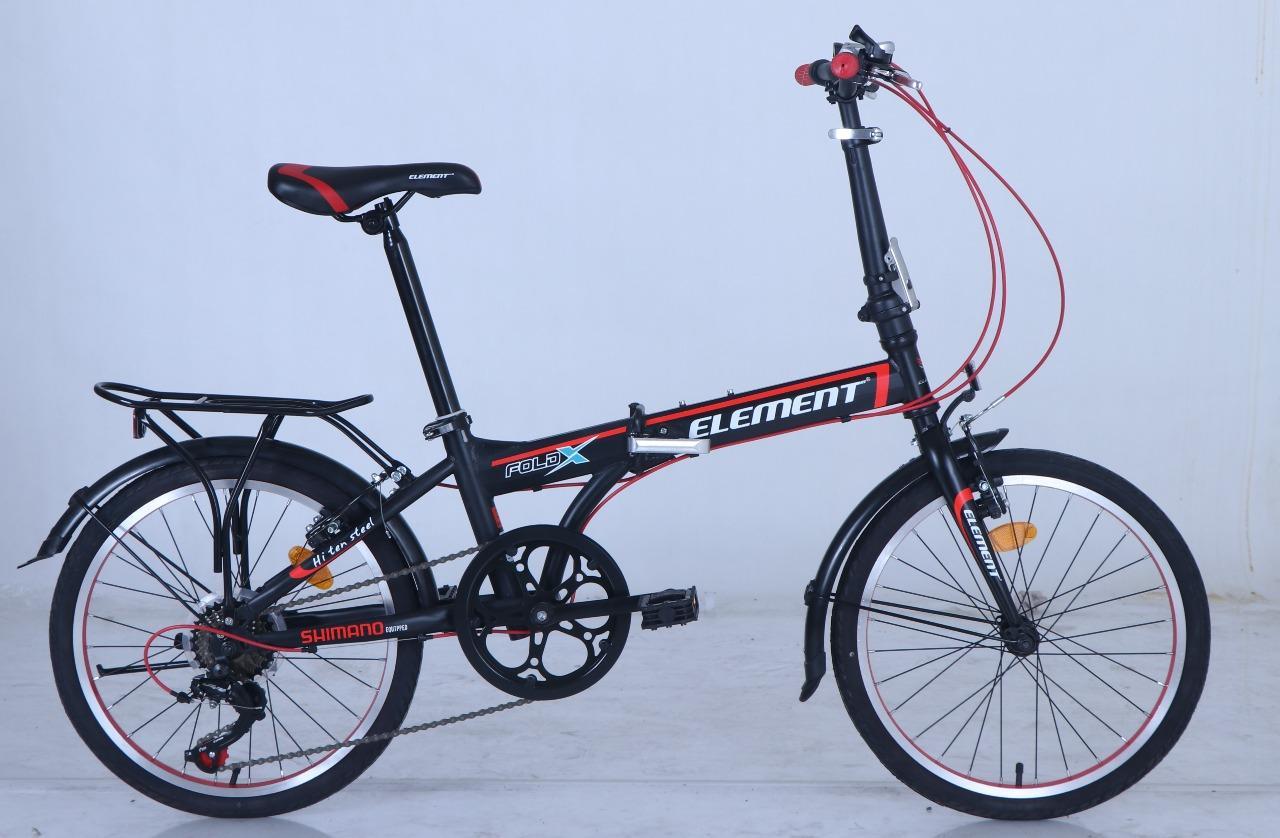 Sepeda Lipat Element Folding 20 Foldx Hitam Merah By Elementbike.