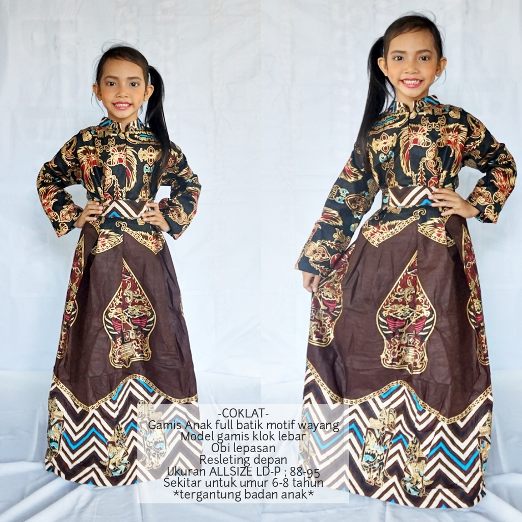 Gamis Batik Muslim Ibu Dan Anak Cewek Model Gamis Anak Umur 12-12 tahun Motif  Wayang