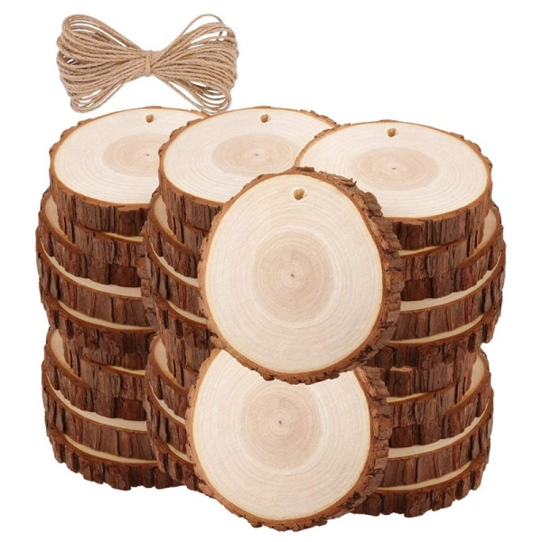 30Pcs Unfinished Wood Slices with Bark for Crafts Wood Kit Circles Log Discs for DIY Craft Wedding Ornaments