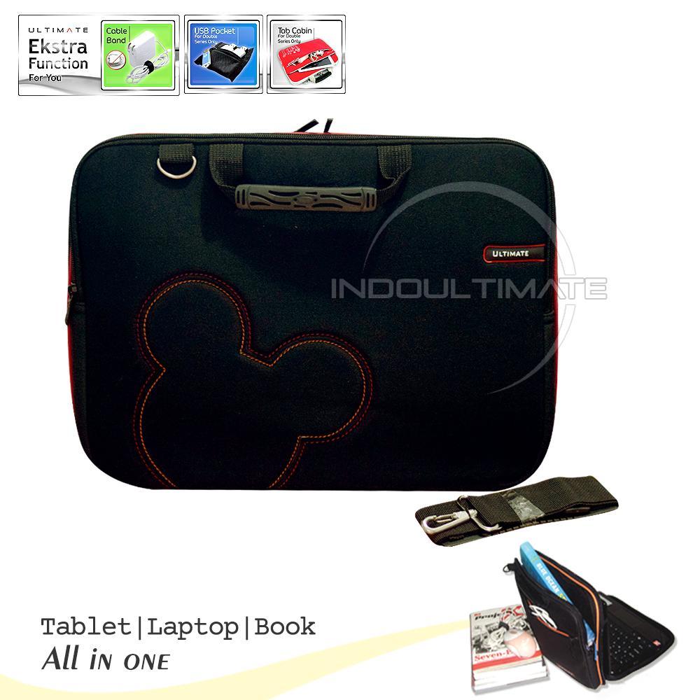 "Ultimate Softcase Tas Laptop 14"" Double Slim Cute - Hitam"