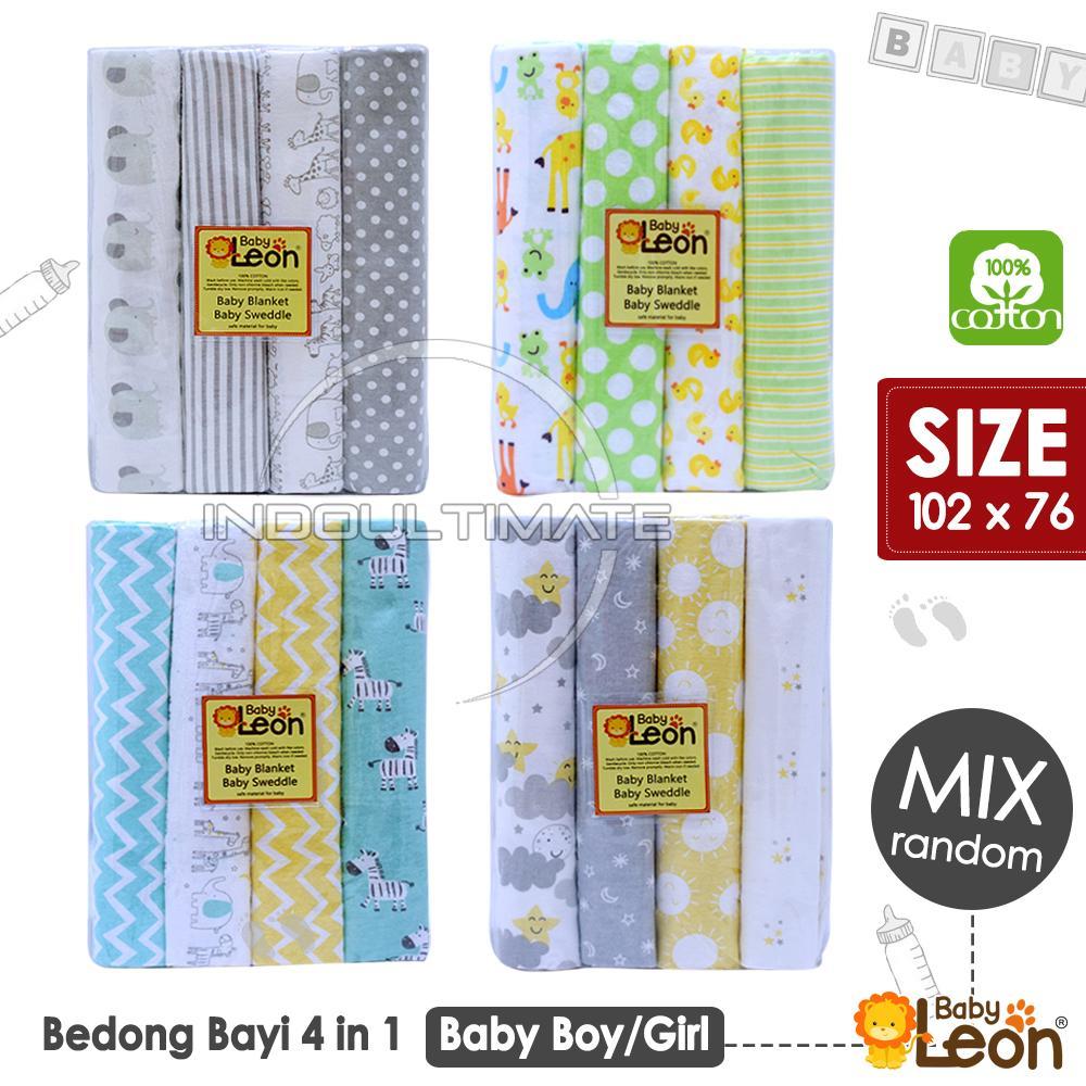 Baby Leon Premium Bedong Bayi 4 Pcs Jumbo 97 Cm X 76 Cm / Bedong Kain Motif / Selimut Bayi Halus / Alas Bayi Lembut Ha Bc-206 By Indo Ultimate.