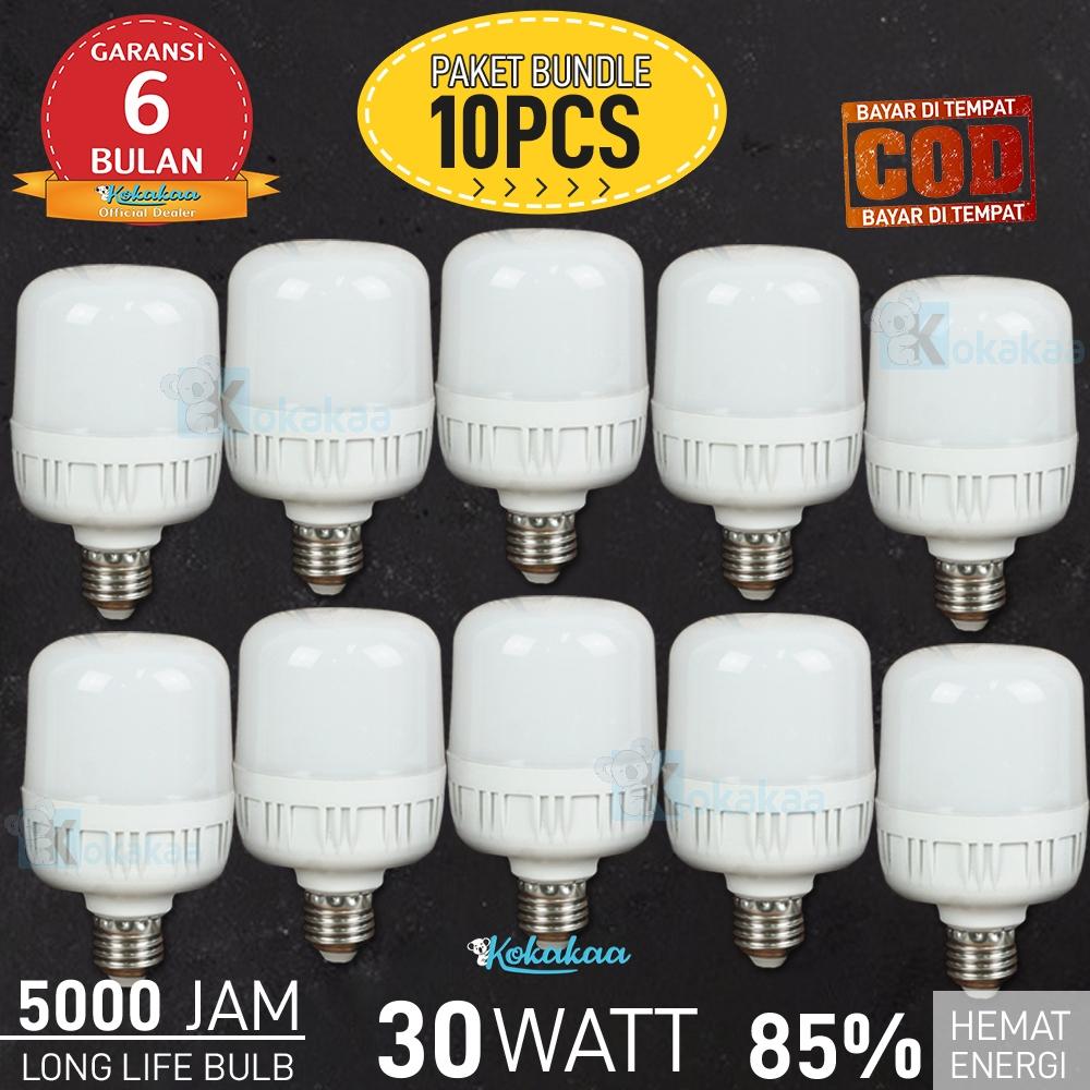 PAKET 10 PCS Bohlam LED SUNSONIC 30 Watt GARANSI 6 BULAN JUMBO Lampu Bulb Cool White Hemat Energi Cahaya 1100 Lumen GARANSI 6 Bulan (Umur 5000 Jam) - Putih
