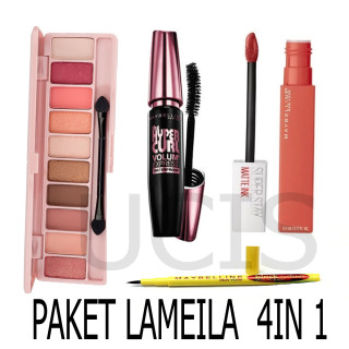 UCIS-Paket Makeup Kosmetik Murah - Eyeshadow Eye Shadow Lameila + Eyeliner Eye Liner Spidol Maybelline + Maskara Mascara Maybeline + Lipstik Lip Cream Mate Ink thumbnail