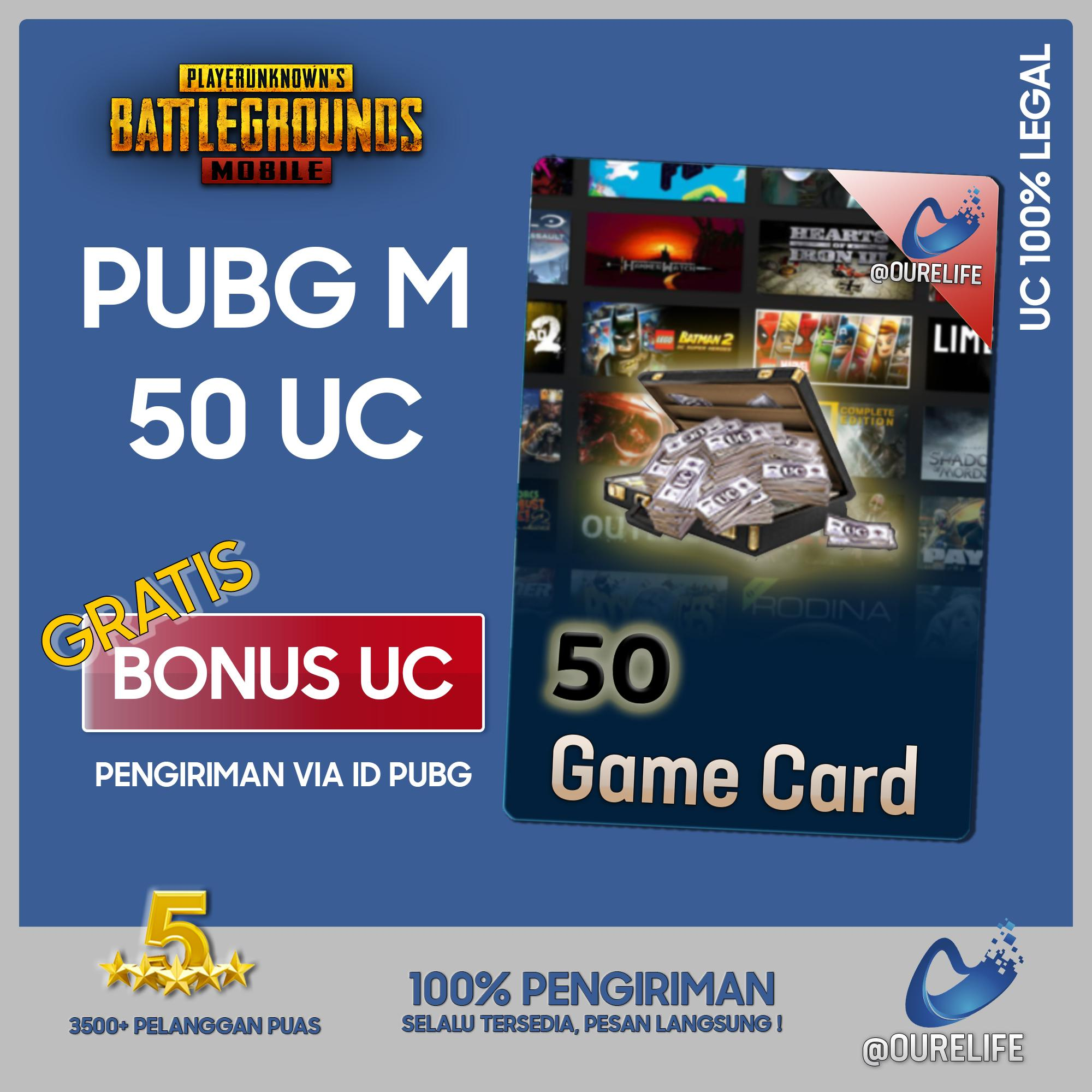 Player Unknowns Battleground Mobile (pubg Mobile) 50 Unknown Cash (uc) By Ourelife.co.id.