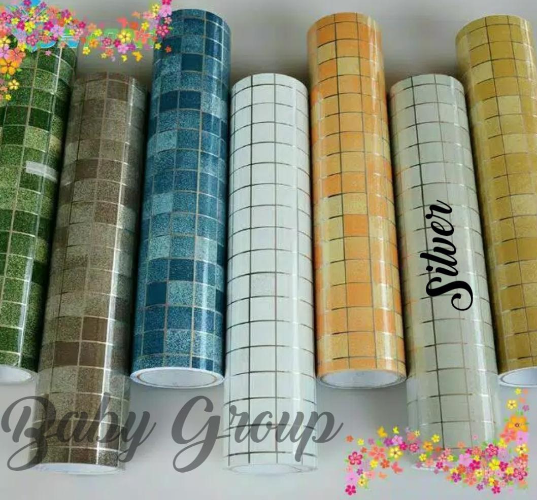 Wallpaper Stiker Dinding Dapur Dan Kamar Mandi Size 45cm X 5meter Bahan Aluminium Foil Premium Hight Quality By Baby Shop Wallpaper.