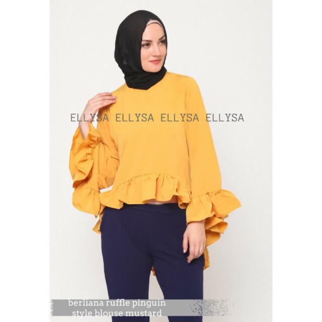 Gilaa!!! Hijab Ellysa BERLIANA RUFFLE PINGUIN STYLE BLOUSE Bagus