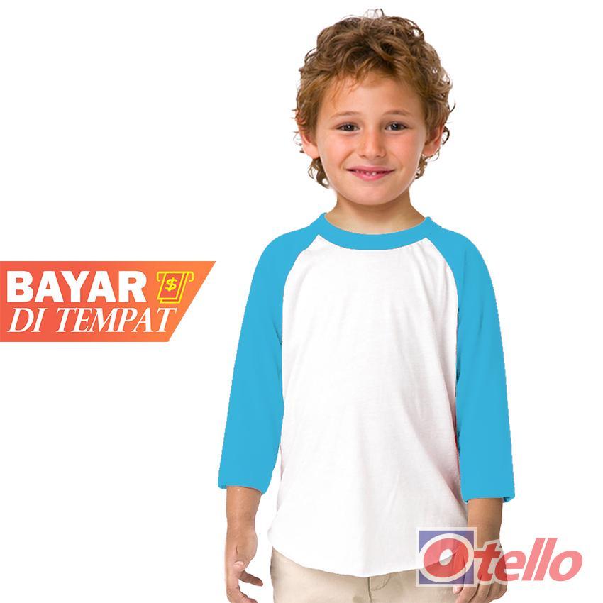 OTELLO Kaos Anak Raglan Polos Anak Laki-Laki Premium Lengan3/4  O-Neck/ Raglan Putih-Tangan Kombinasi  Kaos Polos  Anak Laki-Laki  / Plain T-Shirt / T-Shirt Raglan / Kids T-Shirt boy / Crew O-Neck / Cotton combed 30s / Premium Quality /  Raglan Sleeve 3/4