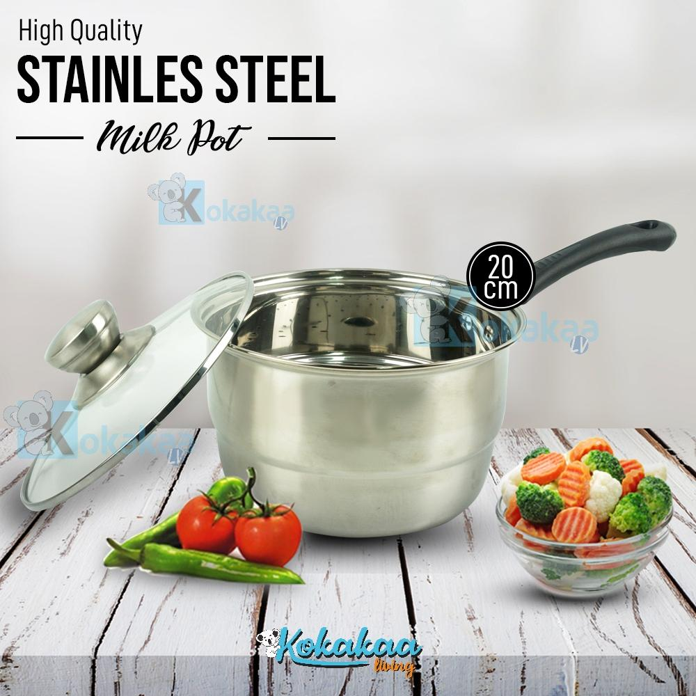 Ecomax Panci Kukus Mini Bet-920x Milk Pot With Steamer 20 Cm Panci Kukusan Stainless Steel High Quality By Kokakaa Living.