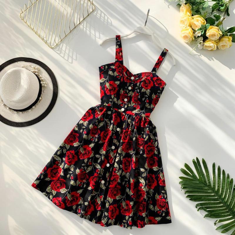 081dbd96ac6b 2019 New Style Beach Resort Korean-Style Fresh Dress V-neck Chest Pad Polka