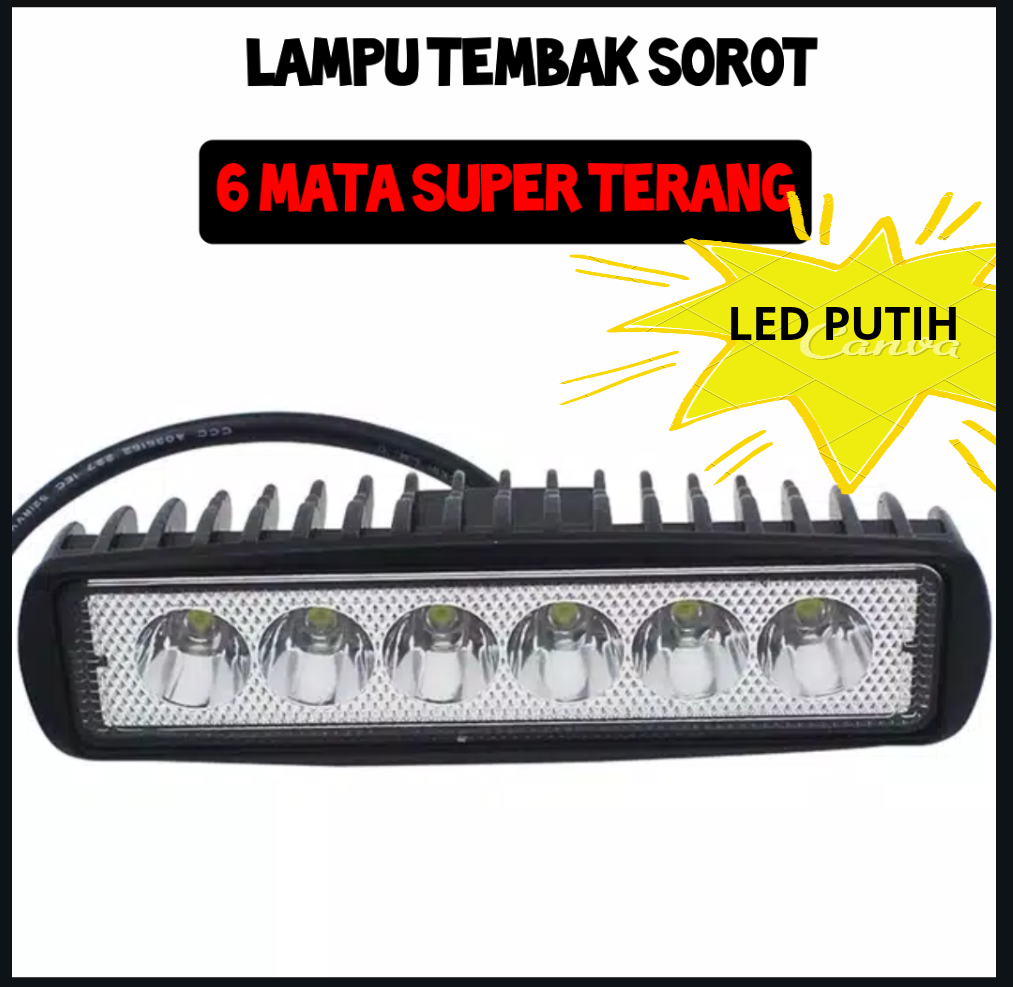 Lampu Tembak Sorot 6 MATA LURUS TEBAL CWL LED