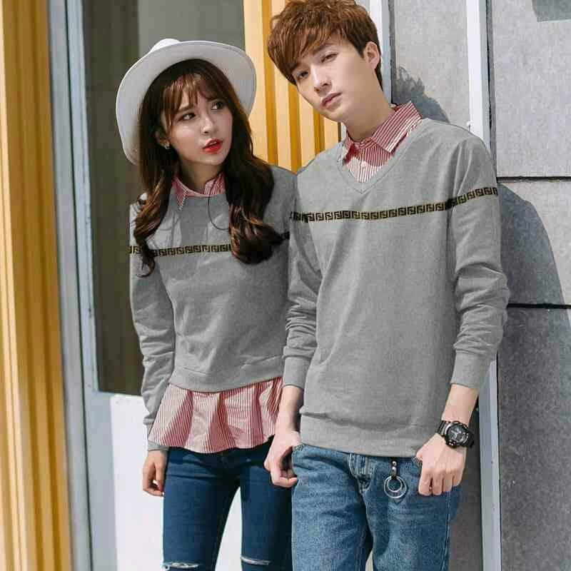 MODEL- SWEATER PASANGAN BAJU COUPLE BAJU OBLONG SWEATER COUPLE FENDI (DAPAT 2 SWEATER)