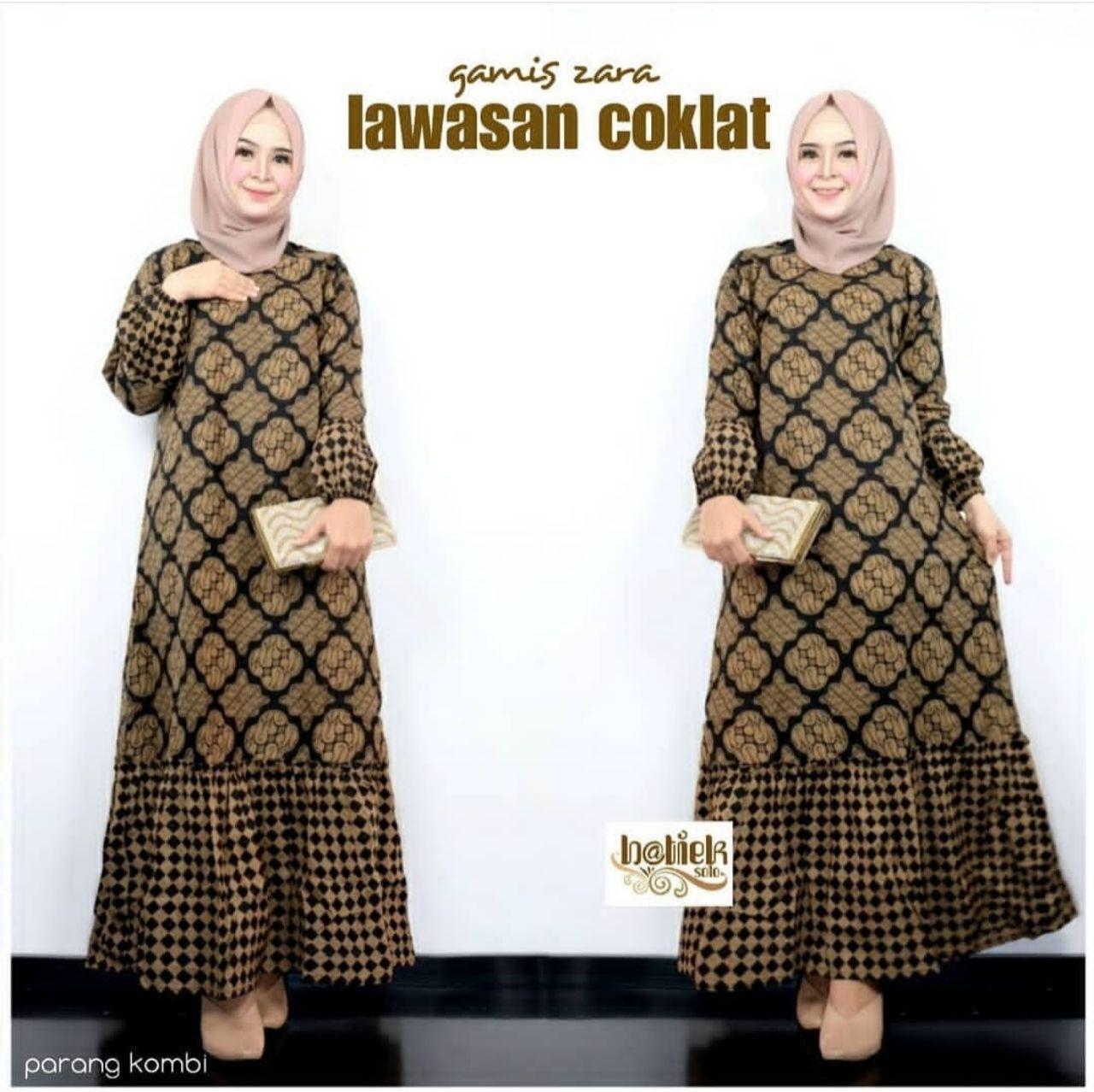 Gamis Batik Kombinasi Rempel Murah All Size