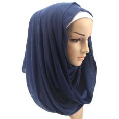 022-15 Muslim Long Scarf Wrap Hijab Fashion Islamic Wear dark green - intl