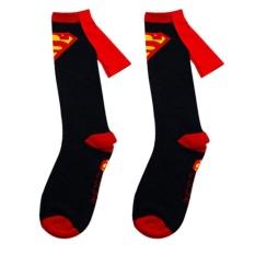 1 Pair Kaos Kaki untuk Pria Bahan Katun Kaos Kaki Gambar Superhero Superman + Batman Panjang Berumbai Warna Hitam Superman-Internasional