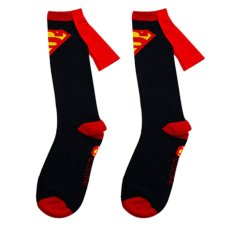 1 pasang Kaos Kaki untuk Pria Bahan Katun Kaos Kaki Gambar Superhero Superman + Batman Panjang Berumbai Warna Hitam Superman - intl
