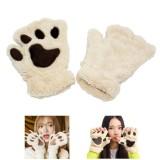 Toko 1 Pair Musim Dingin Wanita Sarung Tangan Yang Indah Plush Hangat Mittens Cute Cat Paw Pendek Setengah Jari Tanpa Jari Glove Intl Oem Tiongkok