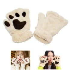 Beli 1 Pair Musim Dingin Wanita Sarung Tangan Yang Indah Plush Hangat Mittens Cute Cat Paw Pendek Setengah Jari Tanpa Jari Glove Intl Lengkap