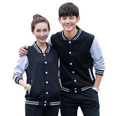1 Pc Lengan Panjang Bisbol Mantel Pakaian Luar Jaket Coat untuk Pasangan Kekasih Jacket Tops (Hitam)-Intl