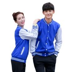 1 Pc Lengan Panjang Bisbol Mantel Pakaian Luar Jaket Coat untuk Pasangan Kekasih Jacket Tops (Biru)-Intl