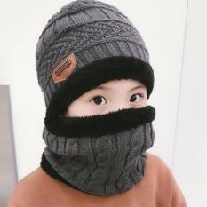 1 Set (2 Pcs) Kids Unisex Musim Dingin Hangat Hat dan Lingkaran Scarf Knitted Hat dengan Soft Fleece Lined Beanie Cap Syal untuk Anak Laki-laki atau Perempuan-Intl