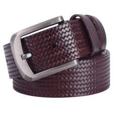 100% Kulit Asli Kulit Sapi Men Belt Plaid Cowskin Designer Luxury Men's Belts Pria Tali Logam Gesper SD018-Intl