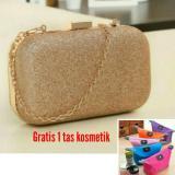 Jual 100 Import Tas Pesta Evening Clutch Gold Gratis 1 Tas Kosmetik Murah Dki Jakarta