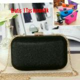 Model 100 Import Tas Pesta Evening Clutch Black Gratis 1 Tas Kosmetik Terbaru