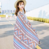 Tips Beli 100 180 Chinese National Wind Retro Tassel Linen Large Scarf Beach Towel Women With Shawl Light Blue Intl Yang Bagus