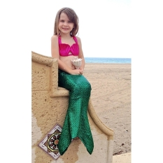 Spesifikasi 100Cm Little Girls Kids Princess Mermaid Tail Swimmable B*k*n* Set Swimwear Suit Green Purple Online
