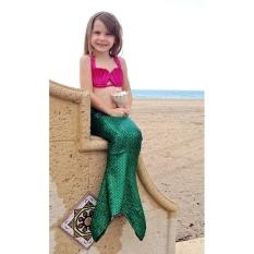 Beli 100Cm Little Girls Kids Princess Mermaid Tail Swimmable B*k*n* Set Swimwear Suit Green Purple Cicilan