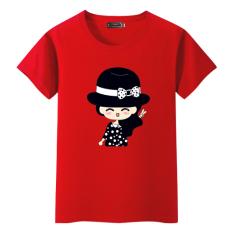 12 Korea Modis Gaya Remaja Anak Perempuan Lengan Pendek Atasan Kaus (Merah) Baju Wanita Baju Atasan Kemeja Wanita