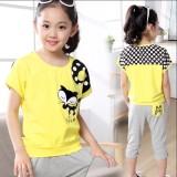 Berapa Harga 12 Musim Panas Lengan Pendek Gadis Perempuan Musim Panas Kuning Pakaian Celana Abu Abu Kuning Pakaian Celana Abu Abu Oem Di Tiongkok