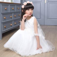 Gaun Putri Anak Perempuan (Putih) (Putih)