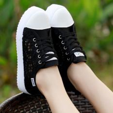 12 Putih Remaja Siswa Sekolah Dasar Anak Perempuan Sepatu Datar Sepatu Putri Korea Gaya Modis Sandal Musim Panas (Hitam)