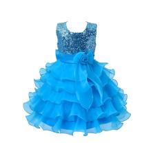 120 Cm Ulang Tahun Pesta Sleeveless Putri Gaun untuk Anak I082-Blue-Intl