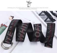 Situs Review 150 Cm Wanita Kanvas Belt Fashion Aksesoris Off White Bordir Unisex Long Waistband Hitam