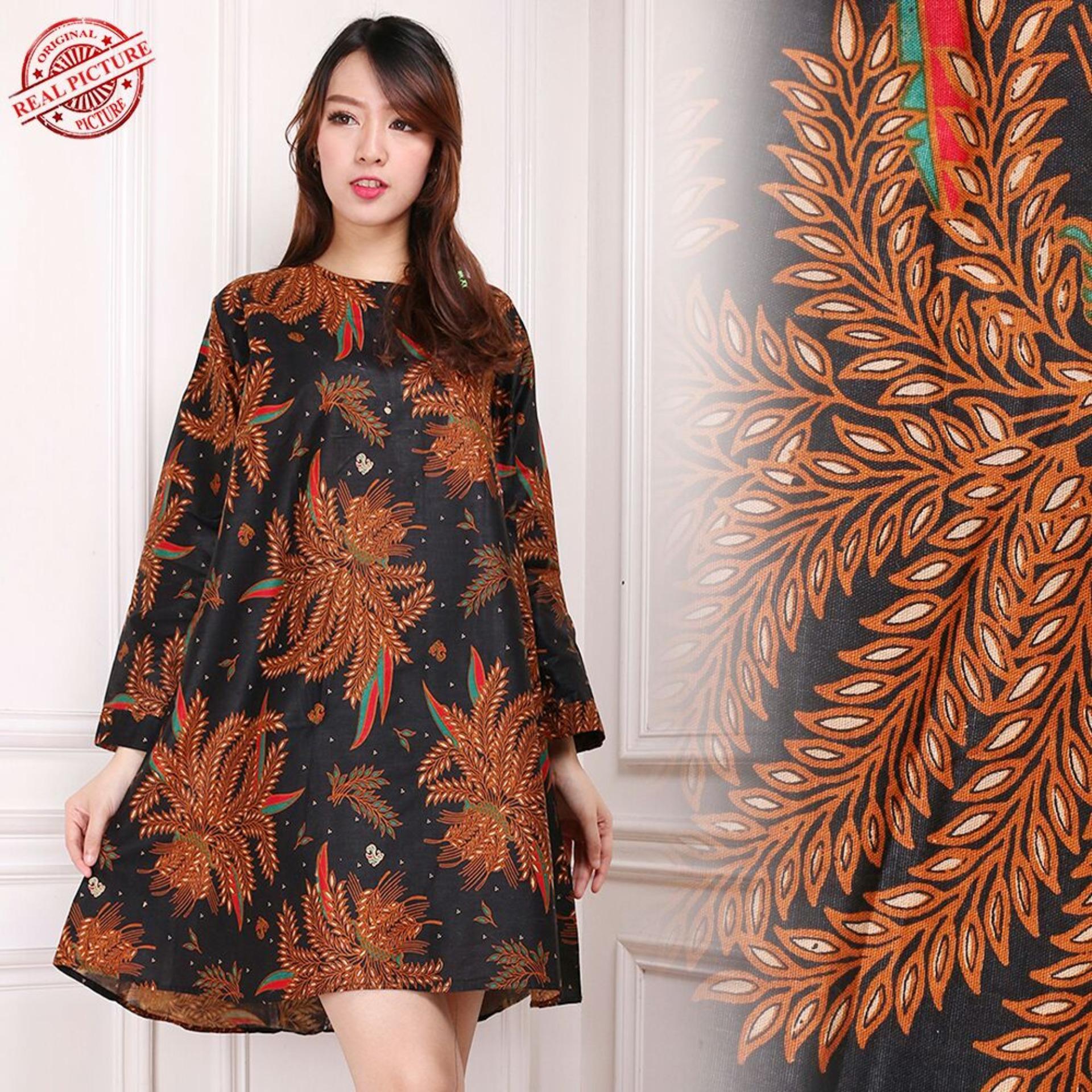 168 Collection Atasan Blouse Batik Gladys Kemeja Long Tunik Wanita