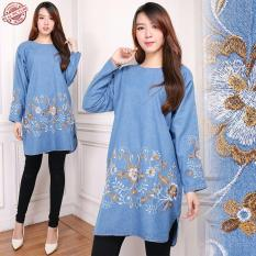 168 Collection Atasan Blouse Jumbo Tessa Jeans Bordir Runik