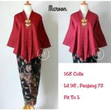168 Collection Atasan Blouse Moniq Abaya Dan Rok Lilit Batik Maroon Terbaru
