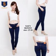 Jual 168 Collection Celana Jeans Panjang Jumbo Sisca Celana Wanita Navy Import