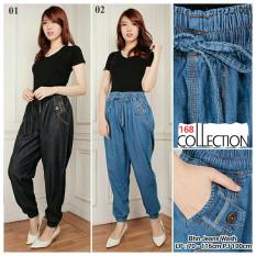 168 Collection Celana Jumbo Joger Cindy Jeans Pant-Biru