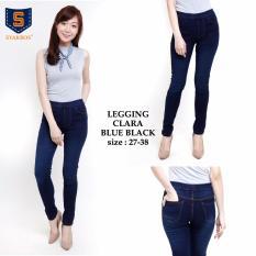 Toko 168 Collection Celana Legging Jeans Panjang Jumbo Claura Celana Wanita Biru Tua Murah Banten